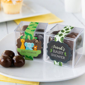 Personalized Baby Shower JUST CANDY® favor cube with Premium Milk & Dark Chocolate Sea Salt Caramels