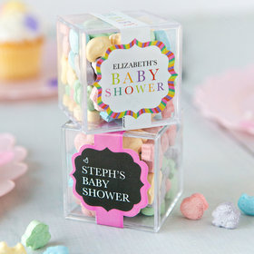 Personalized Baby Shower JUST CANDY® favor cube with SweeTarts Chicks, Ducks, & Bunnies