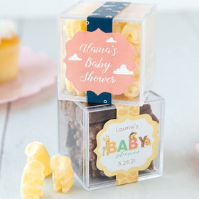 Personalized Baby Shower JUST CANDY® favor cube with Premium Chocolate Covered Gummy Bears