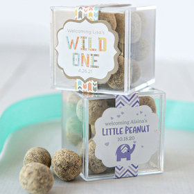 Personalized Baby Shower JUST CANDY® favor cube with Premium Marshmallow S'mores - Milk Chocolate
