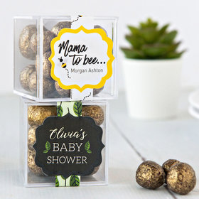 Personalized Baby Shower JUST CANDY® favor cube with Premium Sparkling Prosecco Cordials - Dark Chocolate