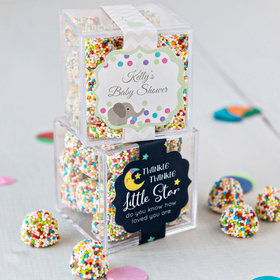 Personalized Baby Shower JUST CANDY® favor cube with Rainbow Berries
