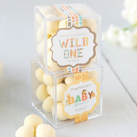Personalized Baby Shower JUST CANDY® favor cube with Premium Sugar Cookie Bites