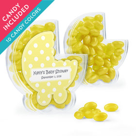 Personalized Baby Shower Favor Assembled Plastic Baby Stroller Box with Just Candy Jelly Beans