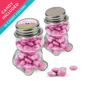 Personalized Baby Shower Favor Assembled Teddy Bear Jar with Just Candy Milk Chocolate Minis