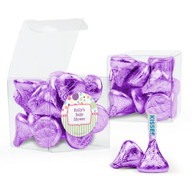 Personalized Baby Shower Favor Assembled Clear Box with Hershey's Kisses