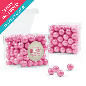 Personalized Baby Shower Favor Assembled Clear Box with Sixlets