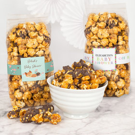 Personalized Baby Shower Chocolate Caramel Sea Salt Gourmet Popcorn 8 oz Bags