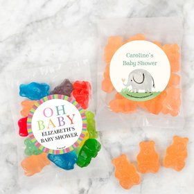 Personalized Baby Shower Candy Bags with Gummi Bears