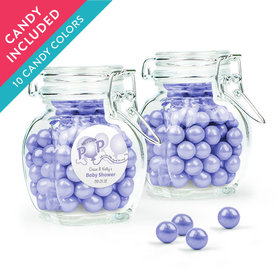Personalized Baby Shower Favor Assembled Swing Top Jar with Sixlets