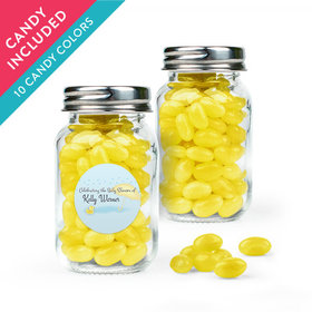 Personalized Baby Shower Favor Assembled Mini Mason Jar with Just Candy Jelly Beans