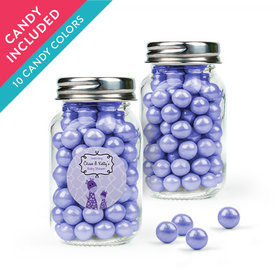Personalized Baby Shower Favor Assembled Mini Mason Jar with Sixlets