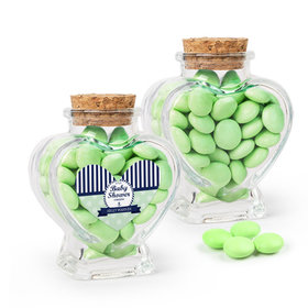 Personalized Baby Shower Favor Assembled Heart Jar with Just Candy Milk Chocolate Minis