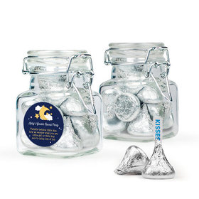 Personalized Baby Shower Favor Assembled Swing Top Square Jar with Hershey's Kisses