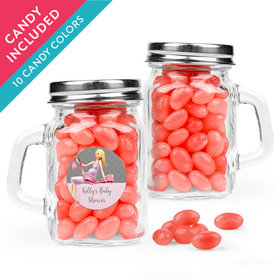 Personalized Baby Shower Favor Assembled Mini Mason Mug with Just Candy Jelly Beans