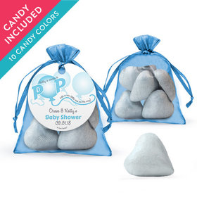 Personalized Baby Shower Favor Assembled Organza Bag with Milk Chocolate Hearts