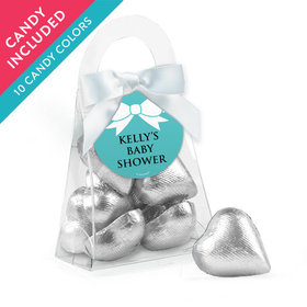 Personalized Baby Shower Favor Assembled Purse with Milk Chocolate Hearts