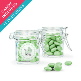 Personalized Baby Shower Favor Assembled Swing Top Round Jar with Just Candy Milk Chocolate Minis