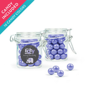 Personalized Baby Shower Favor Assembled Swing Top Round Jar with Sixlets