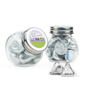 Personalized Baby Shower Favor Assembled Mini Side Jar with Hershey's Kisses