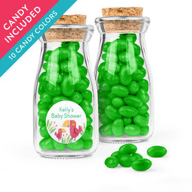 Personalized Baby Shower Favor Assembled Glass Bottle with Cork Top with Just Candy Jelly Beans