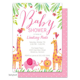Bonnie Marcus Collection Personalized Baby Safari (Pink) Invitation