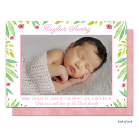 Bonnie Marcus Collection Personalized Baby Safari Pink Birth Announcement