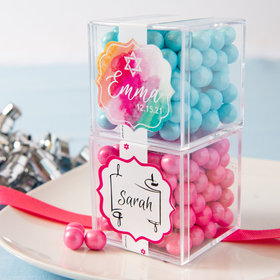 Personalized Bat Mitzvah JUST CANDY® favor cube with Sixlets Chocolate