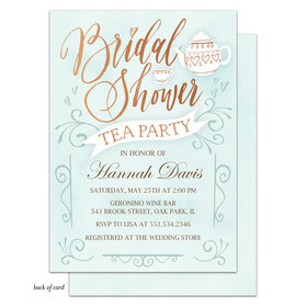 Bonnie Marcus Collection Personalized Bridal Tea Party Invitation - Blue