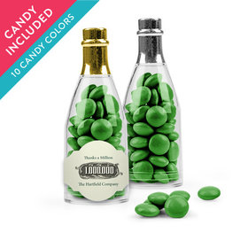 Personalized Thank You Favor Assembled Champagne Bottle with Just Candy Milk Chocolate Minis