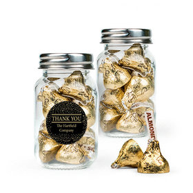 Personalized Thank You Favor Assembled Mini Mason Jar with Hershey's Kisses