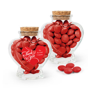 Personalized Thank You Favor Assembled Heart Jar with Just Candy Milk Chocolate Minis
