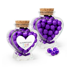 Personalized Thank You Favor Assembled Heart Jar with Sixlets