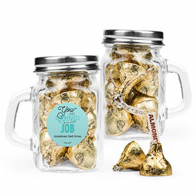 Personalized Thank You Favor Assembled Mini Mason Mug with Hershey's Kisses