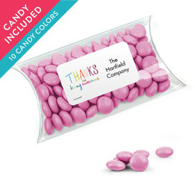 Personalized Thank You Favor Assembled Pillow Box with Just Candy Milk Chocolate Minis