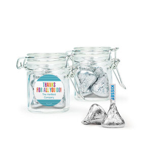 Personalized Thank You Favor Assembled Swing Top Round Jar with Hershey's Kisses