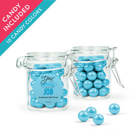 Personalized Thank You Favor Assembled Swing Top Round Jar with Sixlets