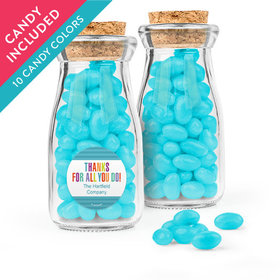 Personalized Thank You Favor Assembled Glass Bottle with Cork Top with Just Candy Jelly Beans