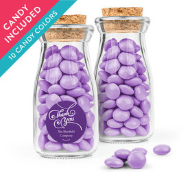 Personalized Thank You Favor Assembled Glass Bottle with Cork Top with Just Candy Milk Chocolate Minis