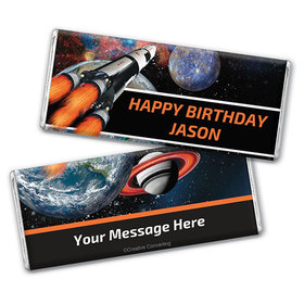 Personalized Birthday Space Blast Chocolate Bar Wrappers