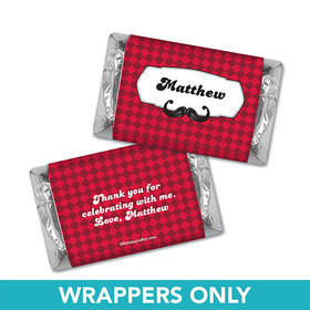 Personalized Birthday Mustache Madness Miniatures Wrappers