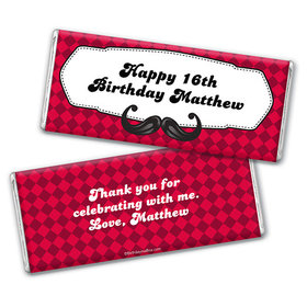 Personalized Birthday Mustache Madness Chocolate Bar & Wrapper