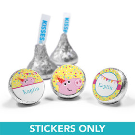 """Personalized Birthday Pigs & Dots 3/4"""" Sticker (108 Stickers)"""