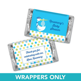 Personalized Baby Shower Blue Stork Miniatures Wrappers