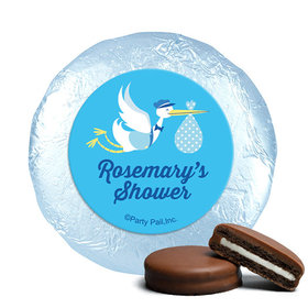 Personalized Baby Shower Blue Stork Milk Chocolate Covered Oreos (24 Pack)