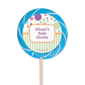 "Baby Shower Personalized 3"" Swirly PopSpecial Delivery (12 Pack)"
