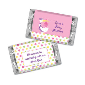 Personalized Baby Shower Pink Stork Hershey's Miniatures