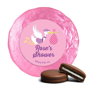 Personalized Baby Shower Pink Stork Milk Chocolate Covered Oreos (24 Pack)