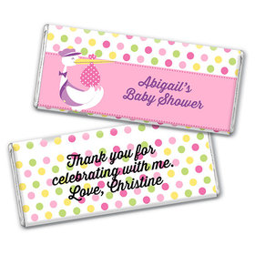Personalized Baby Shower Pink Stork Chocolate Bar Wrappers