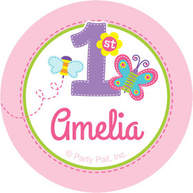 "Sweet First Birthday Girl Personalized 2"" Stickers (20 Stickers)"